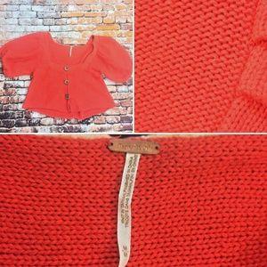 Free People sz M Orange Knit 3 Button Up Boho top